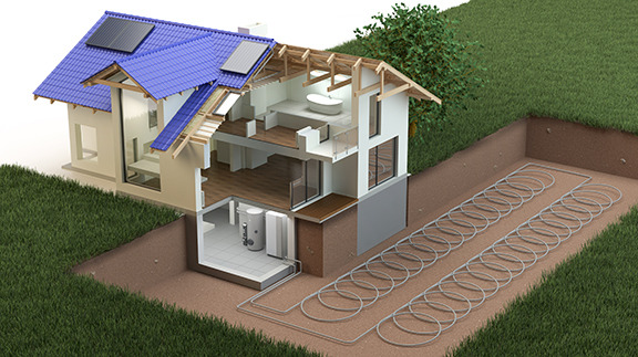 An illustration showing how a heat pump works