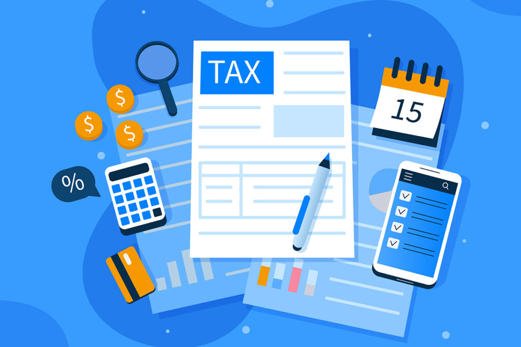 An illustration of various tax related imagery