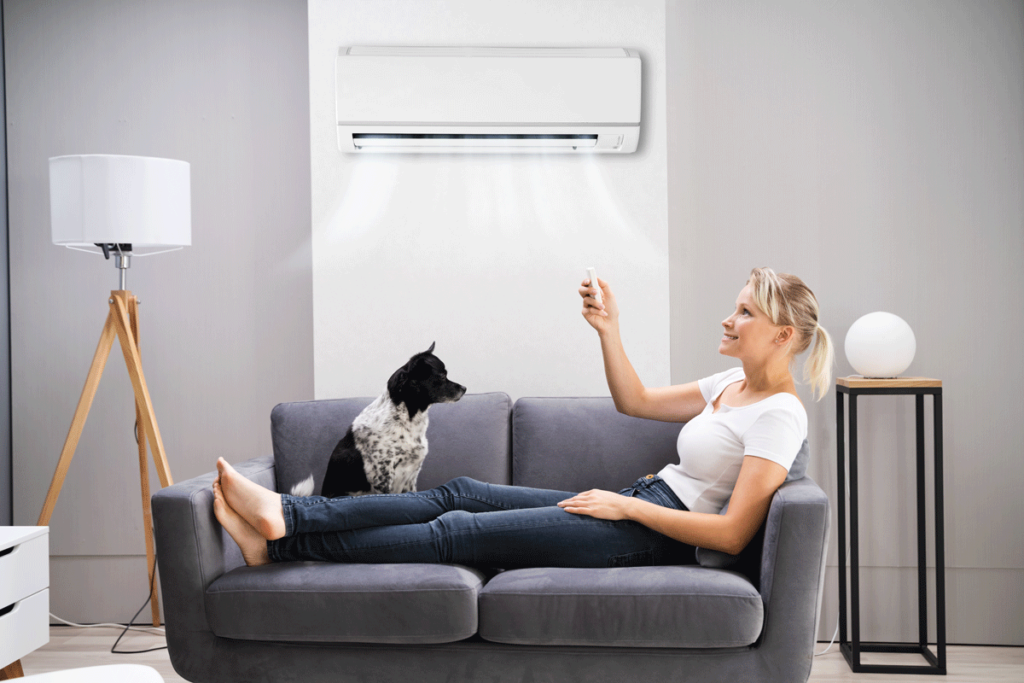 Woman and dog on couch under A/C